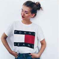 Wholesale 2017 Tommy Jeans T Shirts Mens Women Spellout Big Flag Box Logo Printed Tee Shirts Hip Hop Casual Cotton Short Sleeve Streetwear
