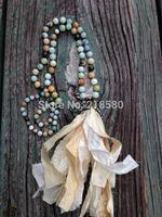 beaded sari - Knot Amaonite Beads Necklace Shabby BoHo Sari Silk Tassel Necklace