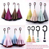 Wholesale Leopard Stripe Inverted Umbrellas C shape Handle Waterproof Double Layer Reverse Car Umbrella Paraguas Rain Umbrella Free DHL XL A101