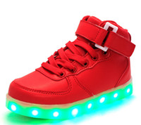 Wholesale 25 Kids sneaker Luminous Lighted Colorful LED light up usb Children Casual Flat Boy girl high Shoes red white black