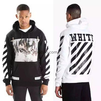 Wholesale 2017 SS Pyrex SS C O Virgil Abloh OFF WHITE Hoodies Religious stripe print Pullovers Men Cotton Hooded sweatshirt
