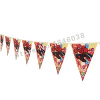 Wholesale flags Cartoon Pattern Spider Man Theme Party Birthday Party Decoration Banner For Children kids Party Supplies