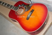Wholesale Solid Spruce Top Inches Hummingbird Cherry Sunburst Vintage Acoustic Electric Guitar Split Parallelogram Inlay Red Turtle Pickguard