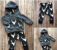 Spring / Autumn baby pants cool - christmas suits Newborn Baby Kids Boys Girls Deer cool Hoodie Tops Long Pant fashion Outfits baby good quality top Set M