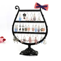 antique showcase - Top Quality Antique brass Cup shape Metal Jewelry Earring display Necklace showcase Jewelry Display Rack stand holder DM