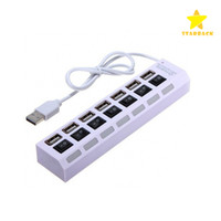5-8 USB 2.0 480Mbps 7 Ports USB2.0 Hubs with LED Switch Power Adapter Cjarger High Speed Power Cable for PC Desktop Notebook Laptop Computer