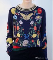 Wholesale 2016 Autumn And Winter Women Embroidery Butterfly Painting Of Flowers And Birds In Traditional Chinese Style Gold Thread Collar Sweater top