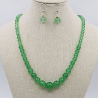 aventurine earrings - Lucky Stone Tower Necklace Chain Earring Sets Aventurine Crystal Jade Jasper inch Beads Jewelry Gifts Accessories mm