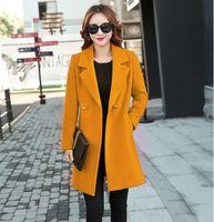al por mayor lana de abrigo largo de color amarillo-Europea de invierno de cachemir de color amarillo de la capa de las mujeres de moda de cachemir capas mezclas de lana abrigo de color sólido de manga larga prendas de abrigo capas