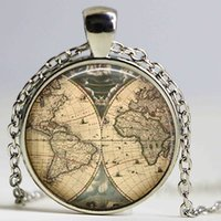 ancient world map - Ancient World Map Necklace Handmade explorer Map necklace Pirate treasure map Expedition glass pendant