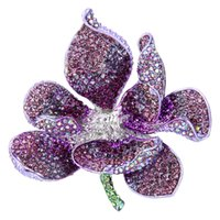 bella stainless steel - ashion Jewelry Brooches BELLA Purple Orchid Flower Rhinestone Brooch Pin Austrian Crystal Silver Tone Flower Brooch For Women Party Acces