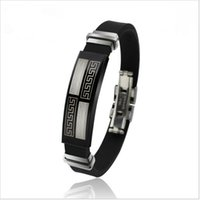Wholesale Black Silicone Bracelet Bangle for Men Stainless Steel Clasp Adjustable Length BS