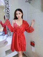 Robe Sets babydoll gown - Sexy Lady Satin Lace Robe Sleepwear Lingerie Nightdress G string Pajamas Babydoll Set Women Kimono Bridesmaid Robe Dressing Gowns