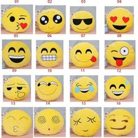 Wholesale Emoji Pillows Case Yellow Smily Face Cushion Emoji Smiley Pillows Cartoon Cushion Pillows Cover Yellow Round Plush Toy cm