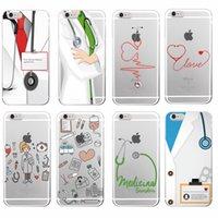 Enfermera de medicina médica de la salud corazón suave cubierta de la caja del teléfono TPU para el iPhone 7 7Plus 6 6S 6Plus 5 5S SE 5C 4 4S