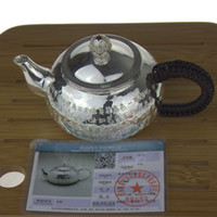 Wholesale Gift for friend family silver teapot Pure handmade with Buddhist Scripture teapot sterling silver Simple style teapot
