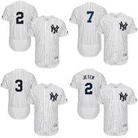 Wholesale Men s New York Yankees Derek Jeter jersey Babe Ruth Mickey Mantle Stitched Logos Flexbase White Size S XXL