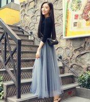 Wholesale New women net yarn Long Skirt lady Tutu Elegant Petticoat Casual Tulle Elegant Long Skirt A line Dresses Petticoat Free Size
