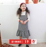 al por mayor la liga del estilo del chaleco-Grils rejilla vestido de princesa vestido de estilo coreano Moda falbala niños plisados chaleco vestido de alta calidad de los niños vestido de fiesta T0416