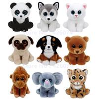 baby huskies - Ty Beanie Babies Big Eyes Stuffed Animals Dog Cat Elephant Panda Husky Leopard Bear Gorilla Kids Toys For Children Gifts CM