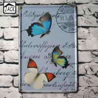 beautiful plaques - Beautiful Butterflies Vintage Metal Tin Sign Bedroom Cafe Kindergarten School X30CM Wall Decor Plaque Bar Tin Plate Poster