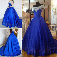 Wholesale Cinderella Ball Gown Quinceanera Dresses Debutante Crystal Puffy Prom Gowns Royal Blue Beads Masquerade Pageant Dress