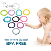 Beaded, Strands baby food toys - 100 Food Grade Silicone Teething Teether Loop Bracelet Bangle Soft Beads for Chew Baby Toddler Nursing Jewelry Toy BPA Free