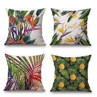 Wholesale Green Leaf Cushion Cover Pineapple Parrot Flamingo Birds Pillow Cover Thin Linen Pillow Cases X45cm Decorative Bedroom Sofa Decoration