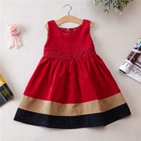 Wholesale 2016 The spring and autumn clothing Korean girls new princess dresse Corduroy stripe vest dress red and black chridren skirt free shopping