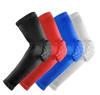 Wholesale 1PCS Elastic Gym Sport Basketball Arm Sleeve Shooting Crashproof Honeycomb Elbow protector Support Pads Elbow Protector Guard Sport Safety