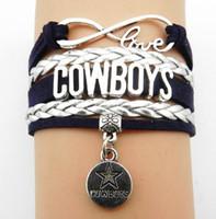 al por mayor pulsera unisex infinito-Envío de la gota Infinity Love D Cowboys Personalizado Brazaletes de Equipos de Fútbol Deportes Equipos Regalos BBF Joyas Unisex Leather Wristband