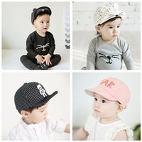 Wholesale Baby Caps Girls Boys Hats Kids Peaked Cap Casquette Infant Sun Flat Hat Children Hip hop Baseball Caps Cotton Cartoon Printing Sports Caps