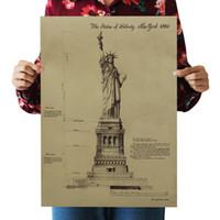 La estatua de la libertad de papel kraft retro carteles pegatinas de pared decoración de la habitación decoración de la casa citas arte mural decoración de casa