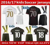 ac boy - kids AC Home away rd Soccer Jerseys kits MENEZ BACCA KAKA shirts EL SHAARAWY kids full set milan jerseys shorts socks