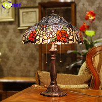 bedside table lamp shades - European Tiffany Stand Lamp High Quality Stained Glass Rose Shade Table Lamp Living Room Bedside Stand Lamp Wedding Lights