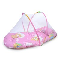 Cheap Wholesale-Portable Baby Bed Crib Folding Mosquito Net Infant Cushion Mattress Pillow Baby Bed With Pillow Mat Set Travel Bed