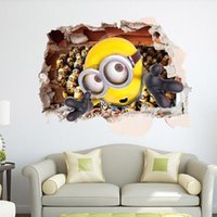 Wholesale Cartoon Minions Wall Stickers for Kids Room Home Decoration Wall Paper