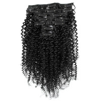 Wholesale African American Afro Kinky Curl Clip In Hair Extensions Clips Peruvian Human Hair Natural Black Kinky Curly Clip In Hair Extensions