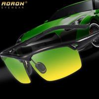 al por mayor gafas deportivas de visión nocturna-Las gafas de sol polarizadas para hombre de la visión nocturna del día que conducen los vidrios de aluminio de Sun de las gafas de sol de los deportes EMI que defienden la lente de capa que envía libremente