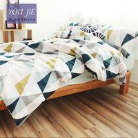Wholesale Cotton Nordic Style Bedding Set Quilt Cover Blue And White Geometric Duvet Cover Queen Pillow Case