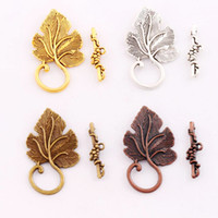 antique bronze jewelry findings - 4Colors Antique Silver Bronze Copper Grape Leaf Toggle Clasps Jewelry Findings Clasps Hooks Jewelry DIY L872