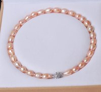 akoya rice pearl necklace - Big MM Genuine Rice Pink akoya cultured pearl necklace Magnet Clasp quot AAR