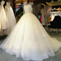 Wholesale Luxury Ball Gown Wedding Dress Plus Size Bateau Hollow Chapel Train Appliques Beaded Pearls Sashes Custom Made Bridal Gowns