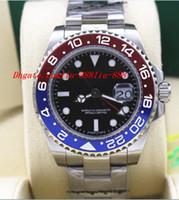 Precio de Cerámica blanca reloj de pulsera-Relojes de Lujo Alta Calidad GMT II 116719 BLRO Rojo Azul Cerámica Bisel 18K Oro Blanco NUEVO Mens Automático Reloj Hombres Reloj de pulsera