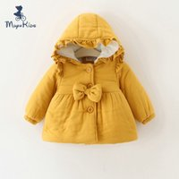 Wholesale Korean Children Winter Coat Cute Baby Girl Hooded Outwear Coat Fashion Kids Bownote Cotton padded Keep Warm Jacket