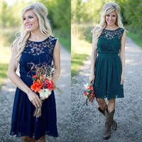 Wholesale Cheap Lace Country Bridesmaid Dresses Royal Blue Short Bridesmaids Dress Knee Length Maid Honor Gowns Under Sexy Lace Party Dresses