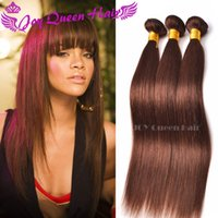 El pelo humano brasileño empaqueta la armadura india peruana natural 4 # del pelo de Brown que la extensión recta del pelo de Malasia de la onda recta 3pcs mucho