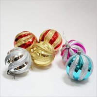 Wholesale 12Pcs a set Christmas Tree PVC Spiral Painted Ball Pub Home Wedding Party Hanging Decoration Supplies cm