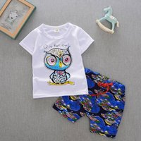 Wholesale summer style kids sets new baby boy clothes sets top owl printed short sleeve t shirt printed shorts boys sets T