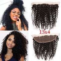 Wholesale 13X4 Brazilian Human Hair Kinky Curly Lace Frontal Closure Cheap Lace Frontal High Quality Deep Curly Lace Closure for Women